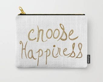 carry all pounch-coin purse-make up bag-quote art-typography-gold words-inspiring words-white and gold-purse organizer-phone holder