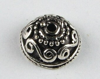 SHOP SALE Swirly Waves Bali Sterling Silver Bead Caps, Decorative Beadcaps (2 pieces)