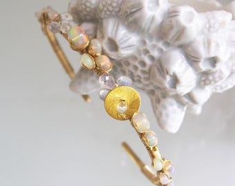 Opal Cuff, 14k Gold Filled Moonstone Bracelet, Artist Made Stackable Gemstone Cuff, Bridal Jewelry
