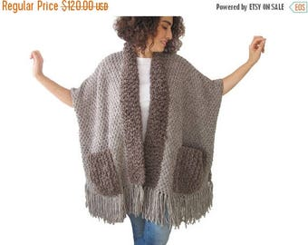20% WINTER SALE Beige - Brown Wool Boucle Hand Knitted Fringe Cardigan with Pockets