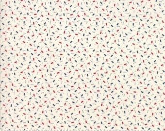 Liberty Gatherings Fabric - Moda Fabric Half Yard - Red and Blue Rectangles on White Small Scale Shirting Fabric Primitive Gatherings 120321