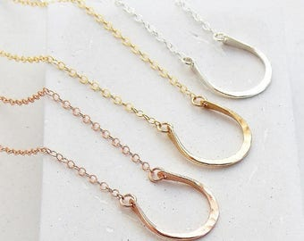 Equestrian Jewelry | Horseshoe Necklace, Layering Necklace, Everyday Necklace, Dainty Necklace, Horse | Silver, Gold or Rosegold