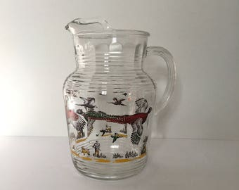 Hazel Atlas Pheasant Hunt Iced Tea Pitcher Replacement Mid Century Hunting Scene