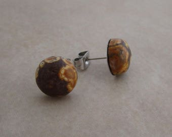 leopardskin jasper earring studs 10mm