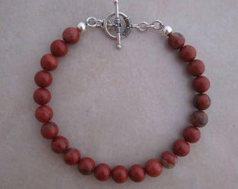 red jasper sterling silver bracelet