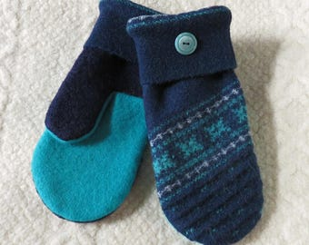 Repurposed Sweater Wool Mittens in Navy Blue and Teal, Eco-Friendly Felted Wool Mittens, Adult Size