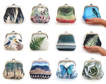 Coin & card purse, original wallet pouch, bird, butterfly, succulent, feather