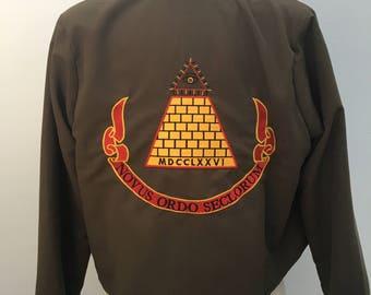 Desperately Seeking Susan inspired jacket with Gold Pyramid on back 80s Madonna costume coat