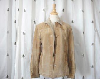 Vintage Esprit Boho Tan Suede Leather Jacket, Women, Pockets, Shearling, Beige, Size Medium, Outerwear