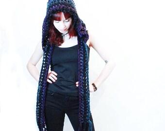NEW Comet Hood scarf unisex winter vegan elfin festival black teal purple