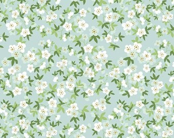 Safari Party Floral Mint with Gold Sparkle - white, mint, and gold floral print fabric - Safari Party Fabric from Riley Blake - 100% cotton