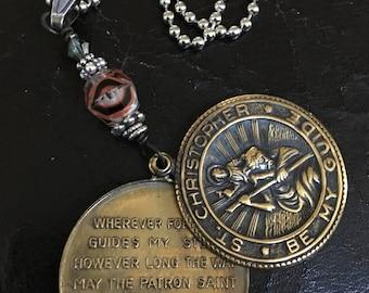Brass Saint Christopher Pendant With Beads