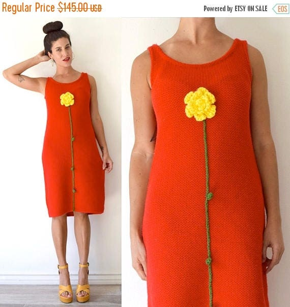 SUMMER SALE / 20% off Vintage 60s 70s Red Knit Midi Tube Dress with 3D Crocheted Flower and Stem Applique (size medium, large)