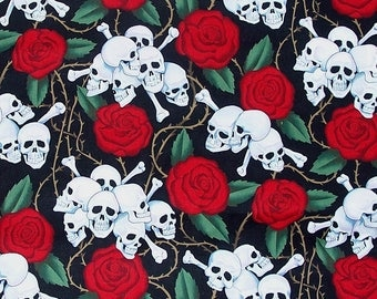 Alexander Henry Fabric, Skulls and Roses, Red, Black, White, Retro, Cotton Fabric
