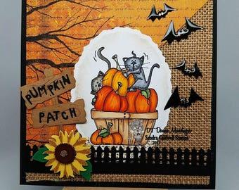 1753 Kitty Pumpkin Basket  Digi Stamp