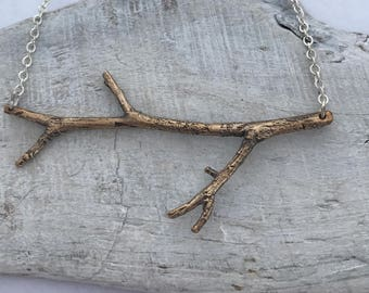 Big and beautiful bronze twig necklace