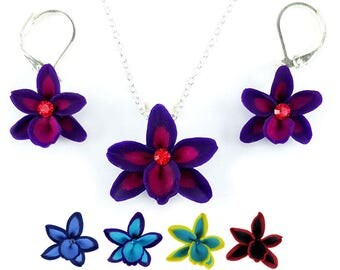 Petite Rhinestone Orchid Jewelry Set - Special Orchid Necklace Earrings Set, Unique Orchid Jewelry
