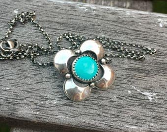 Turquoise Necklace Handmade Boho Sterling Silver Necklace Kingman Turquoise Necklace Floral Pendant Turquoise Jewelry December Birthstone