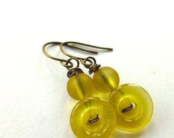 BUTTON JEWELRY SALE Shiny Yellow Earrings from repurposed Vintage Buttons