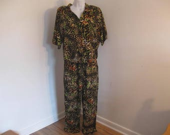 Vintage Pants Outfit Ladies Leopard Print Shirt and Pants by Clio size Large