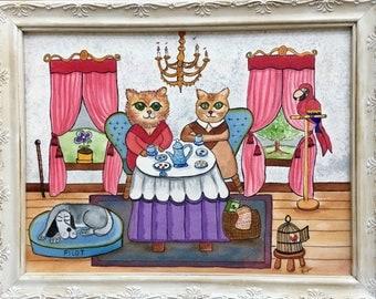 Folk Art Painting - 'Jane & Bertha at Tea'