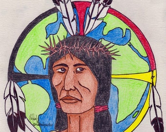 Image of Christ Standing Rock DRAWING