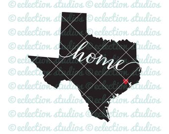 Texas SVG, Home SVG, State svg, State of Texas silhouette with home and city heart cut file, commercial use, svg, dxf, eps, png, jpg