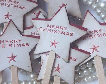 Christmas Tags, Christmas Stars, christmas cakes, cupcake decoration, xmas table decor, cupcake picks, sale items