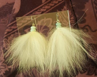 Recycled Rabbit fur and Amazonite Earrings