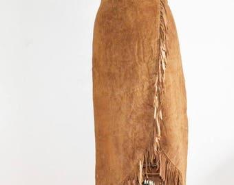 SALE Vintage fringe suede skirt leather boho festival 70s tan long fringed skirt