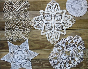 Antique & Vintage Crochet Doily Lot...Mixed, Handmade Lace Doilies, early to mid 1900s...Destash Collection, Crafting, Home Decor DL1705
