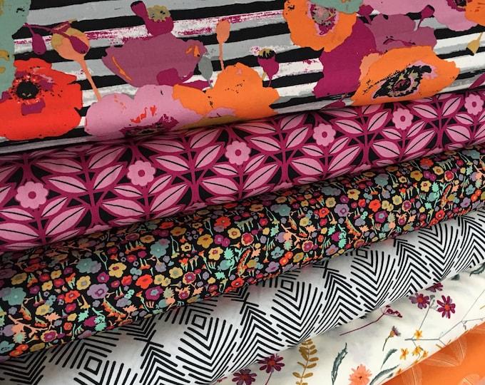 Floral Fabric Bundle, Spices Fusion Fabric, Fabricshoppe fabric bundle, Art Gallery Fabric, Minimalist decor, Boho Decor, Bundle of 6