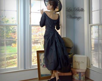 Rosali Macrini Couture Dress Vintage 50s Draped Bustle Gown Black Silk Taffeta Evening Dress