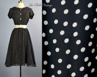 Sheer Polka Dot Dress S M Vintage Black & White Full Skirt Shirtdress ~ Ruffled Collar