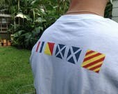 Thank you Natalie:) NAUTICAL TEES...hand painted names in Nautical Code flags,gift guide,party favors,sea beach boating,summer