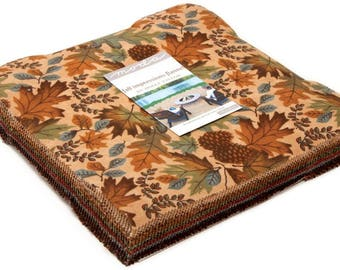 """Fall Impressions Flannel Moda Layer Cake, 42 - 10"""" precut fabric quilt squares by Holly Taylor"""