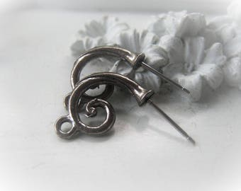 Silver Earring Post Pair Scroll Earring Pair Item No. 1748 7021