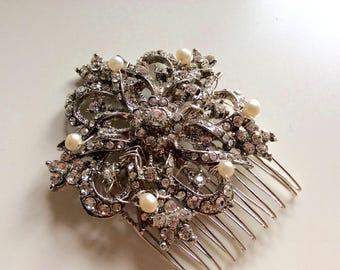 Bridal accessories/ handmade diamante bridal vintage look comb
