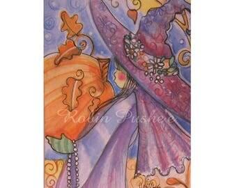 ACEO, Art Card, Original,Festive little Witch, the Harvest