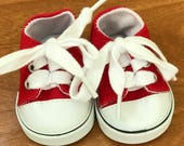 Girl or Boy Doll red canvas sneakers, 18 inch doll red sneakers, Canvas red sneakers, American girl sneakers, boy sneakers, ready to ship