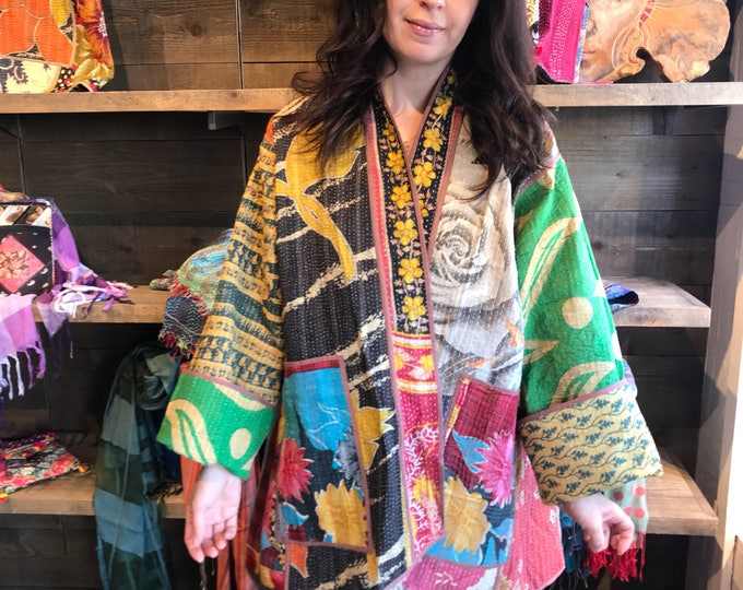 Plus size reversible cotton kantha kimono/jacket