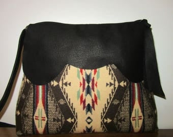 Shoulder Bag Purse Buttery Soft Black Leather Spirit of the People Blanket Wool from Pendleton Oregon