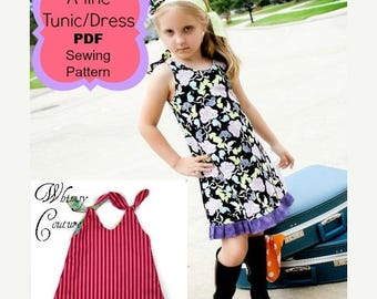 SALE A-line Tunic and Dress Sewing Pattern by Whimsy Couture Reversible Or One Sided 12 m through 10 girls PDF Instant Download