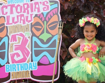 Birthday Luau Outfit - Girl Luau Birthday Outfit - Children's Luau Dress - Luau 1st, 2nd and 3rd Birthday - Flower Crown
