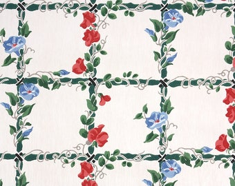 1940s Vintage Wallpaper by the Yard - Floral Wallpaper with Blue and Red Morning Glory Flowers on Green Lattice and White