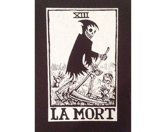 Back Patch - La Mort Death Tarot Black and White Large Patch -  Large Punk Back Patch - Skeleton Patch - Occult Punk Patch - Sew On Patch