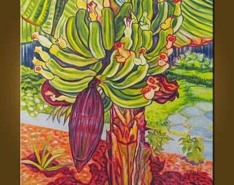 Platanos -- 24 x 24 inch Original Oil Painting by Elizabeth Graf -- Art Painting, Art & Collectibles