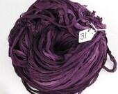 Sari silk ribbon, Silk Chiffon sari ribbon, Recycled Silk Sari Ribbon, Eggplant purple ribbon, purple ribbon, tassel supply, weaving supply