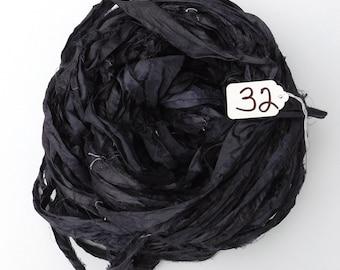 Silk Sari Ribbon, Sari silk ribbon, recycled ribbon, Charcoal Black ribbon, weaving supply, jewelry supply, steampunk ribbon