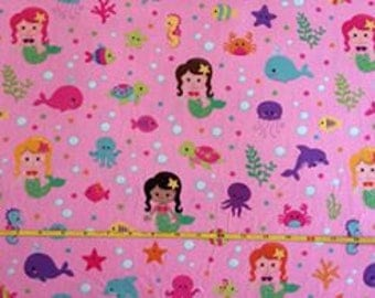 """NEW Mermaids on cotton lycra knit fabric 95/5 58"""" wide."""